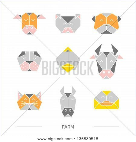 Flat origami animals. Geometric line design icon set. Vector origami animals for tattoo or coloring book. Vector origami zoo animals. Vector origami farm animals collection.