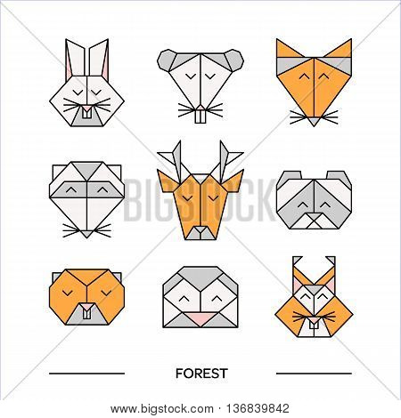 Low poly front view animal heads. Animal polygonal. Vector low poly animals. Low poly line design icon set. Vector low poly animals for tattoo or coloring book. Low poly forest animals collection.