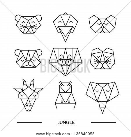 Origami vector animals set. Animal triangle heads. Vector origami animals. Geometric line design icon set. Vector origami animals for tattoo or coloring book. Vector origami jungle animals collection.