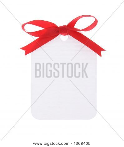 White Gift Tag With Red Bow