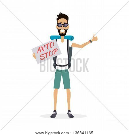 Smiling hitch-hiking traveller man personage vector illustration in flat design. Solo travelling with backpack concept. Low cost country trip on passing cars. Budget travel around the world. Auto stop