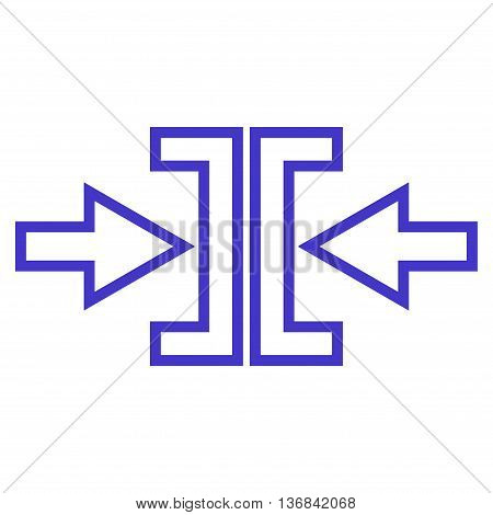 Pressure Arrows Horizontal vector icon. Style is stroke icon symbol, violet color, white background.