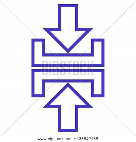 Pressure Arrows Vertical vector icon. Style is stroke icon symbol, violet color, white background.