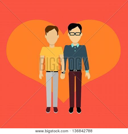 Couple in love homosexual banner flat design style. Man and boy holding hands. In the background of the heart silhouette. Romantic banner flat together male a gay couple, vector illustration