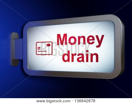 Money concept: Money Drain and Credit Card on advertising billboard background, 3D rendering
