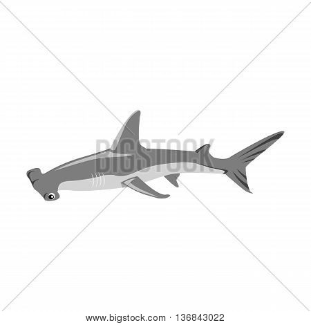 Hammerhead shark icon isolated on white background. Vector illustration