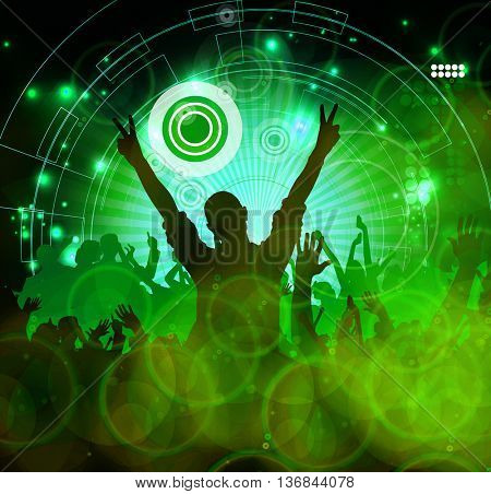 Concert, disco party. Music illustration