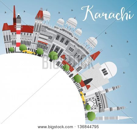 Karachi Skyline with Gray Landmarks, Blue Sky and Copy Space. Business Travel and Tourism Concept with Historic Buildings. Image for Presentation Banner Placard and Web Site.