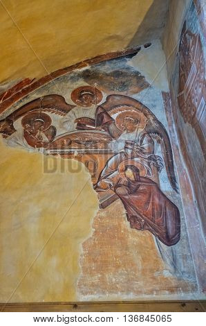 VELIKY NOVGOROD RUSSIA-JULY 1 2016. The Holy Trinity. The mural of the east wall the chapel of St. Trinity in Savior Church. Fresco painting by Theophanes the Greek famous icon painter.