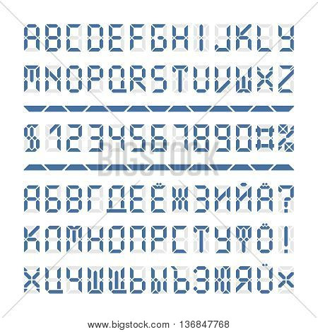 Digital font letters and numbers. Blue alphabet on white. Cyrillic vector characters are included.