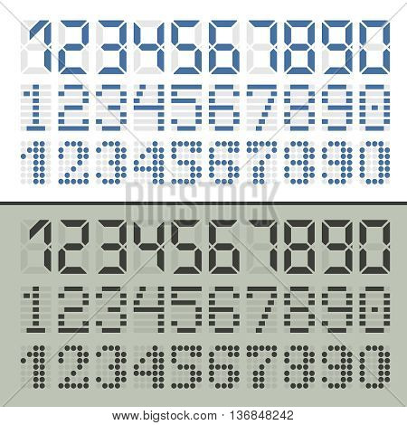 Digital font numbers. Three sets in two styles for time display.
