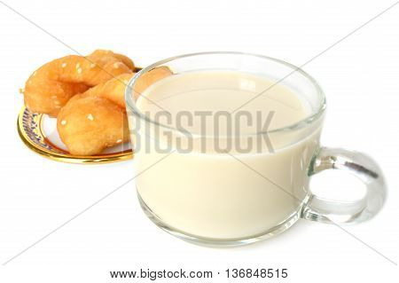 Soy milk and Chinese cruller on white background