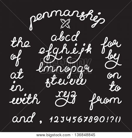 Handwritten penmanship alphabet vector font letters and digits. Brush script letters and catchwords the, and, for etc. Stock vector lettering typography