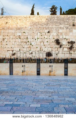 The stones of the Western Wall of the destroyed Temple of the Jews. Judaism. Jerusalem. Israel.