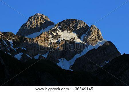 High mountain of the Alpstein Range Appenzell Canton. Swiss Alps.