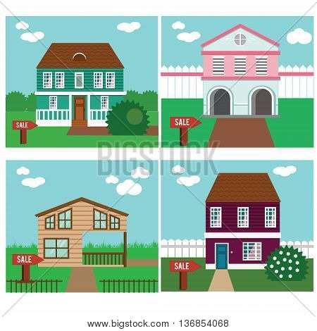 Real estate on sale. House townhouse sweet home vector illustration. Collection of vector cottages with sale sign