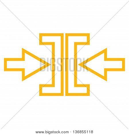 Pressure Arrows Horizontal vector icon. Style is stroke icon symbol, yellow color, white background.