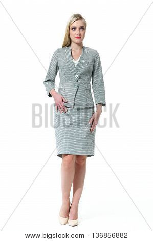 blond hair business executive woman with straight hair style in official gray skirt suit high heel shoes full body length isolated on white