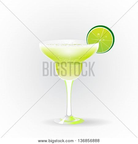 Margarita realistic cocktail in glass with lime slice isolated on white background vector illustration
