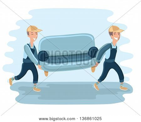 Funny Delivery character man movers carry sofa. Vector detailed illustration isolated on white background.