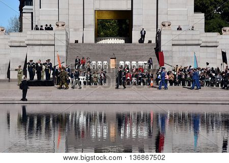 Sydney Australia - July 3 2016. The National Reserve Forces Day Parade at the ANZAC Memorial in Hyde Park South. The parade celebrated the Centenary of the Western Front battles in 1916.