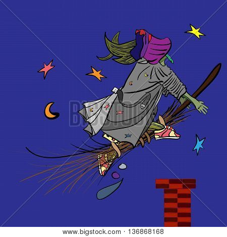 vector illustration of a funny witch gliding in a night sky on her broomstick magic halloween design