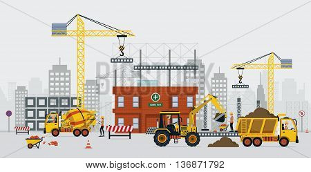 Construction engineers are building with cranes and cement trucks.