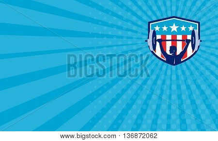 Business card showing illustration of a weightlifter lifting barbell looking to the side viewed from rear set inside shield crest with USA flag stars and stripes in the background done in retro style.