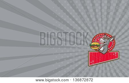 Business card showing illustration of a donkey ass mule or horse mascot serving up a hamburger burger sandwich viewed fromt the side set inside rectangle shape with woodgrain done in 1950s retro diner style