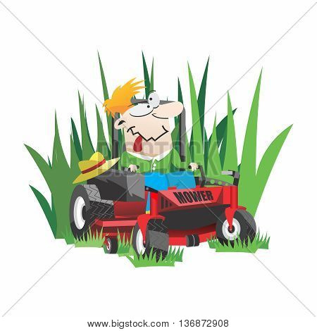 Vector Funny Cartoon Gardner, Lawn Mowing on Riding Mower