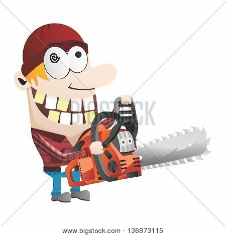 Vector Funny Cartoon Gardner, Chainsaw chopping down trees