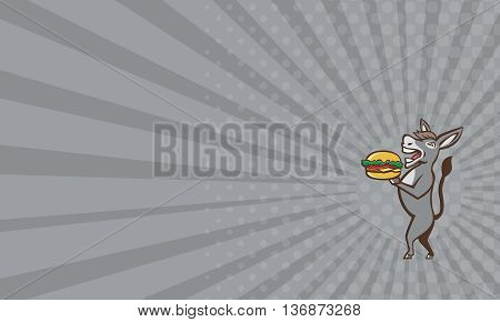 Business card showing illustration of a donkey ass mule or horse mascot serving up a hamburger burger sandwich shown in full body viewed from the side set on isolated white background done in retro style.