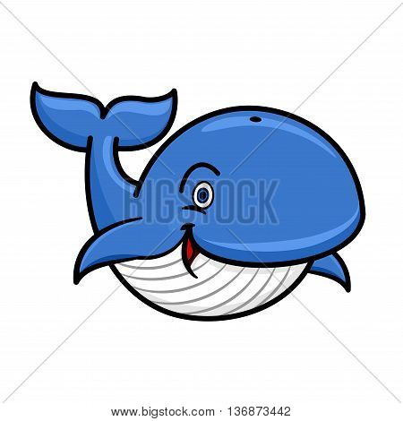 Cartoon baleen whale character with blue spine and striped white underside swimming with playfully raised tail and happy smile. Use as marine wildlife mascot or t-shirt print design