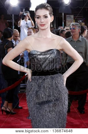 Anne Hathaway at the World premiere of 'Get Smart' held at the Mann Village Theater in Westwood, USA on June 16, 2008.