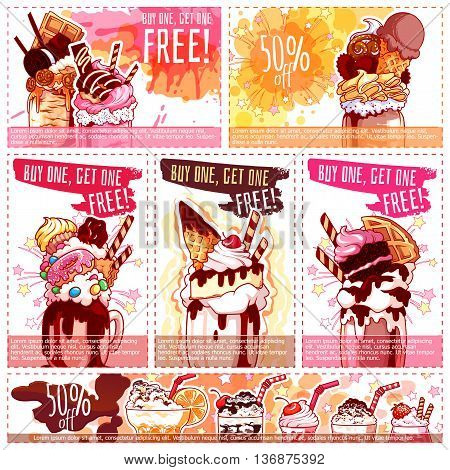 Six different discount coupons for ice cream and milkshakes. Vector template discount voucher isolated on a white background.