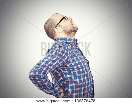 Caucasian Man  With Intense Back Pain