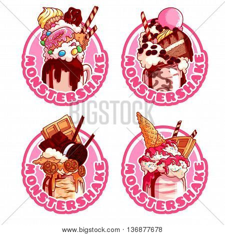 Four stickers with different giant milkshakes. Vector cartoon illustration isolated on a white background.
