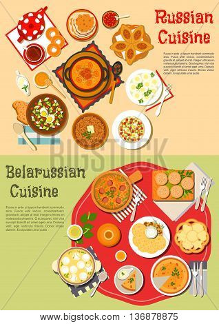 Traditional russian thin pancakes blini and belarusian potato fritters draniki flat icon served with cold soup and shchi, pies and knishes, buckwheat porridge and olivier salad, soup with dumplings and stew, tea, kvass, birch sap with bagels, cookies