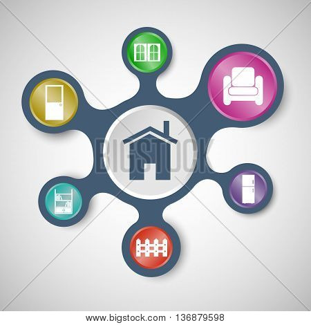 House related infographic templates with connected metaballs, stock vector