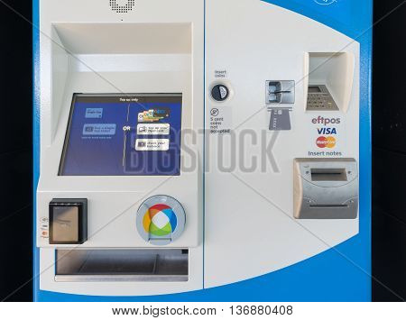 Melbourne, Australia - Jun 22, 2016: Opal card top up machine. Opal is a smartcard ticketing system for public transport in Sydney, Australia