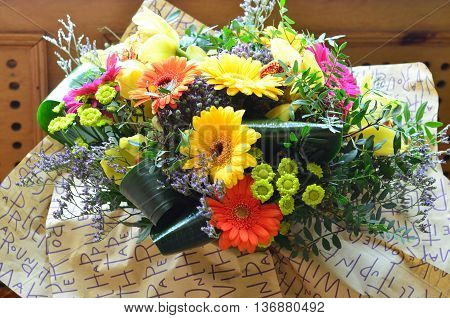 colorful flowers, orchids and gerbera for celebrating a special occasion