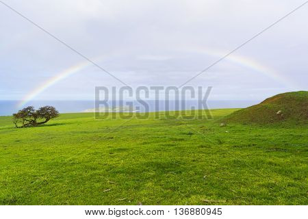 Coastal scene capturing a rainbow over a green field near Kings Beach and Victor Harbor South Australia. Part of the Fleurieu Peninsula. poster