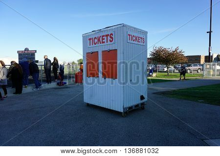 OSWEGO, ILLINOIS / UNITED STATES - MAY 2, 2016: The ticket booth at the Ken Pickerill Stadium in Oswego High School is locked shut.
