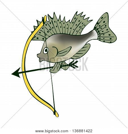 Little ruff with a bow. Cupid in world of fishes. Vector cute cartoon illustration.
