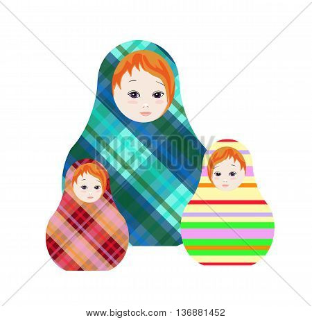 Russian dolls - matrioshka. Collection of toys with geometric ornament. Vector illustration