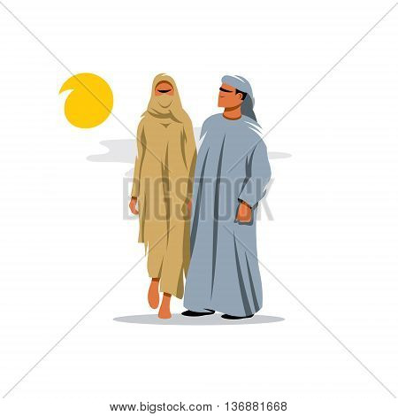 Couple in traditional oriental dress from the Middle East. Isolated on a White Background
