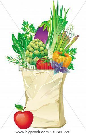 Bolso de compras lleno de verduras