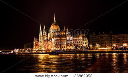 Parliament Building Boats Margaret Bridge Danube River Reflection Budapest Hungary. Parliament Building built between 1885 to 1904.