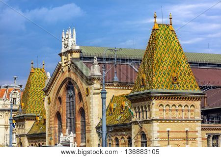 Central Market Hall Budapest Hungary. Designed by Gustav Eiffel in the late 1800s. Old Hungarian market. All types of food handicrafts and other products are sold at the market.