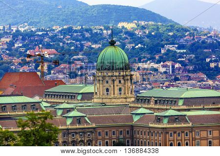 Buda Castle Budapest Hungary. Buda Castle was first built in 1242 and enlarged by Empress Maria Theresa in the 1700s.